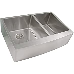Phoenix PH-4454 Tight Radius 33' Apron Farmhouse Double-Bowl Curved Front 16-Gauge Stainless Steel Kitchen Sink