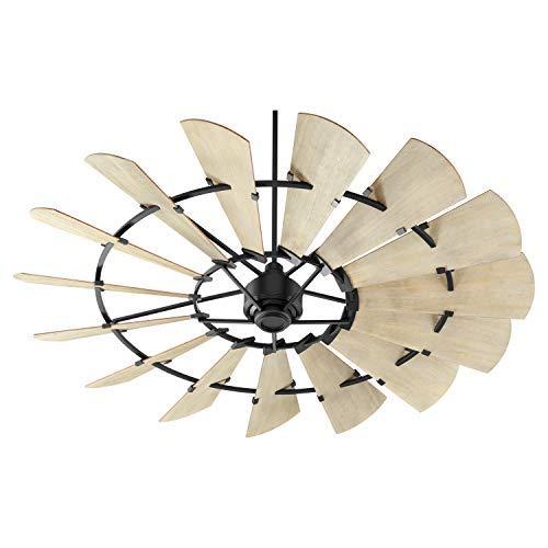 Quorum 97215-69 Indoor Windmill Ceiling Fan in Noir with Weathered Oak Blades (Quorum Ceiling Windmill Fan)