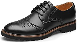 Jiye Men's Leather Carving Oxford Shoes,Brown,7 M US
