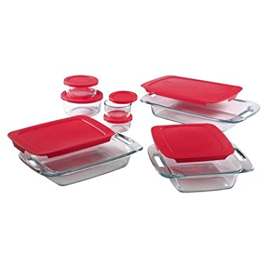 Pyrex 1093843 Easy Grab 14 Piece Bakeware Set with  red covers