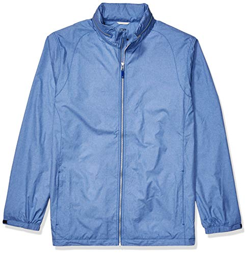 (Cutter & Buck Men's Weathertec Wind-Water Resistant Packable Panoramic Jacket, Tour Blue, 3X Tall)