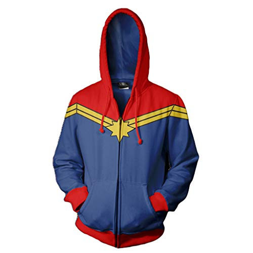 Captain Marvel COS Anime 3D Print with Zip Cardigan Hoodie Sweatshirt Hooded Hoody for Halloween Themed Cosplay Costume Outerwear Jacket,Blue,2XL