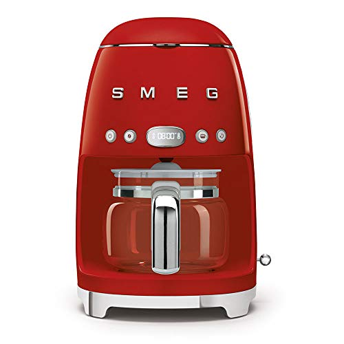 Smeg 1950's Retro Style 10 Cup Programmable Coffee Maker Machine (Red)