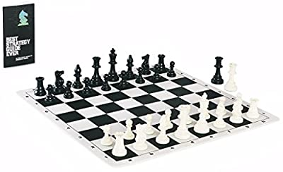 Contemporary Tournament Chess Set including Triple Weighted Game Pieces, Durable Chess Board, Strategy Guide, and Convenient Game Bag