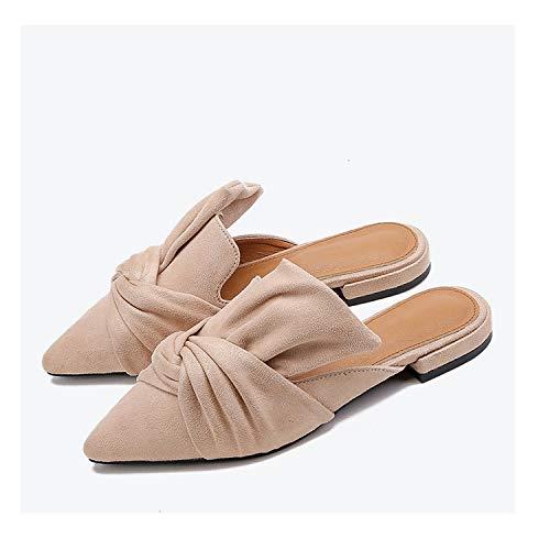 Ashley-OU Women Slippers Flock Bowtie Female Mules Fashion Low Heels Shoes Ladies Plus Size Elegant Slipper,Apricot,7.5
