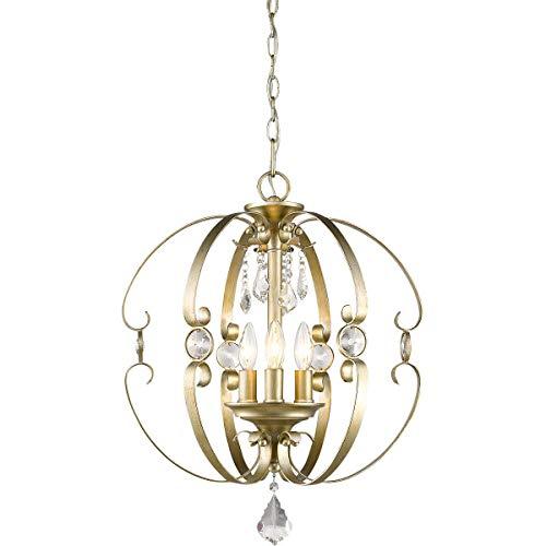 Golden Lighting Ella 3 Light Pendant in White -