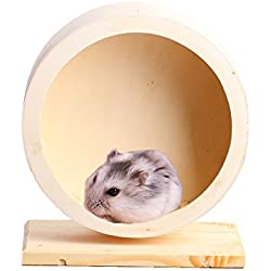 Pet Hamster Wooden Exercise Wheel - Natural Mute Hamster Running Wheel Spinning Toy for Chinchilla Hamster Mouse Rats Gerbil Hedgehog Teddy Bear Hamster Small Animals, Eco-friendly Pet Toy Wheel (S)