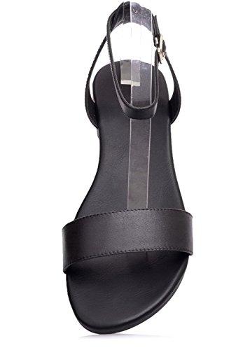 Femme Boucle Sandales Ouverture Unie D'orteil Bas AalarDom Noir Talon Couleur TSFLG004703 à BFwqFd8O