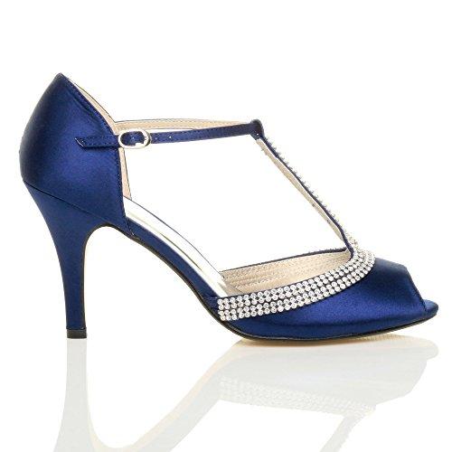 Bar Sandals Size Women Heel blue Shoes T High Ajvani Navy xwvgFqfW