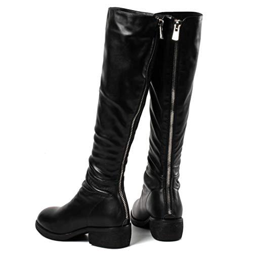 Bottes Bottes De black De Zipper Fond Chaussures De De Chaussures Occasionnelles Coton À Travail Chevalier Femmes Retour Bottes Plat Hautes PwXtnx
