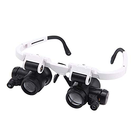 Lighted Headset Magnifying Glasses,8X,23X with 2Led Lights Head-Free Magnifier Loupe for Electronics Eyelash Crafts Jewelry Circuit Watch Repair