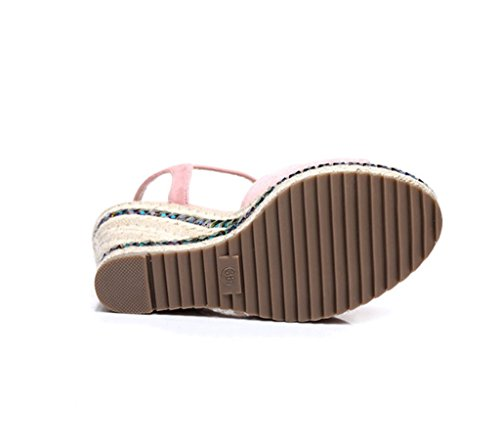 Summer Fashion Ladies Shoes Wedges Sandals Thick Sandals Woven Shoes (Color : Pink, Size : 36)