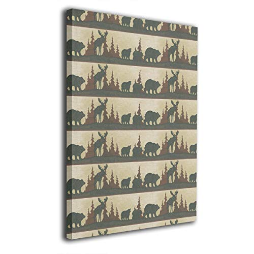 Moose & Bear Pattern Frameless Decorative Painting Wall Art for Home and Office Decorations