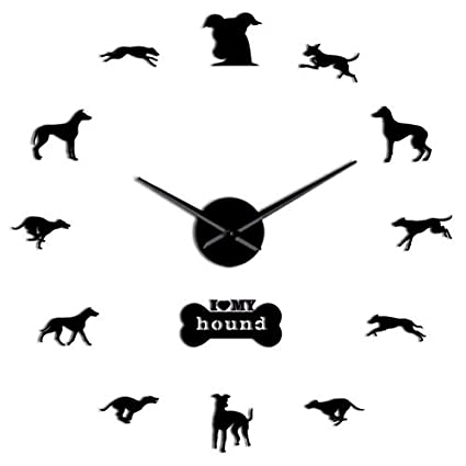 LLLYZZ Greyhound Adopción Perro Pared Arte DIY Gigante Reloj De Pared Greyhound Casa Decoración De Perro