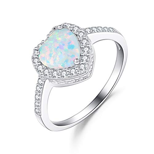 FANCIME 925 Sterling Silver White Created Opal Heart Rings Gold Plated Dainty Engagement Rings for Women, Size ()