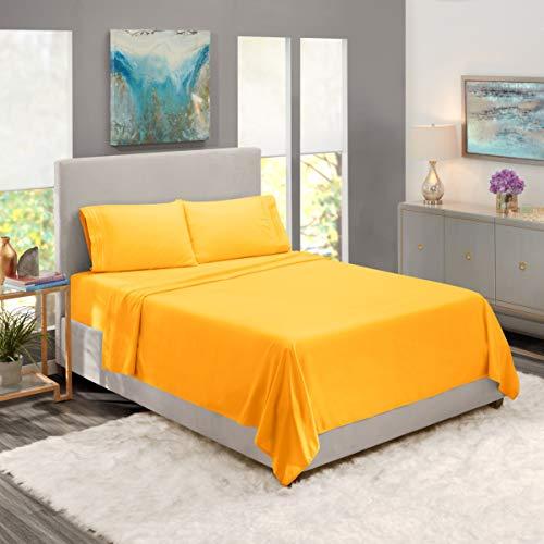 Nestl Kids Deep Pocket Twin XL Sheets: 3 Piece Twin XL Size Bed Sheets with Fitted Sheet, Flat Sheet, Pillow Cases - Soft Microfiber Bedsheet Set with Deep Pockets for Twin XL Sized Mattress - Yellow