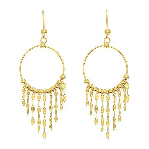 Aleksa Ladies 14K Yellow Gold Shiny Chandelier Earrings with Graduated Fringe Pattern Drop Earrings 14k Yellow Gold Pattern