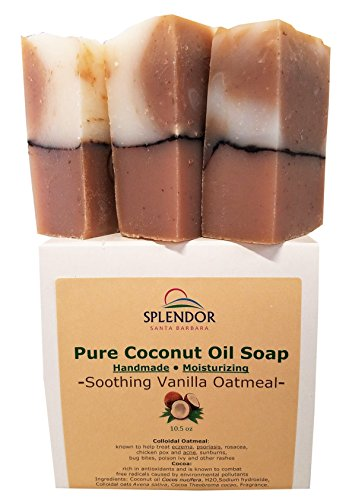 Soothing Vanilla Oatmeal (10.5 oz) - Pure Coconut Oil Soap. Handmade, Vegan, Moisturizing, With Colloidal Oats and Antioxidant-Rich Cocoa.