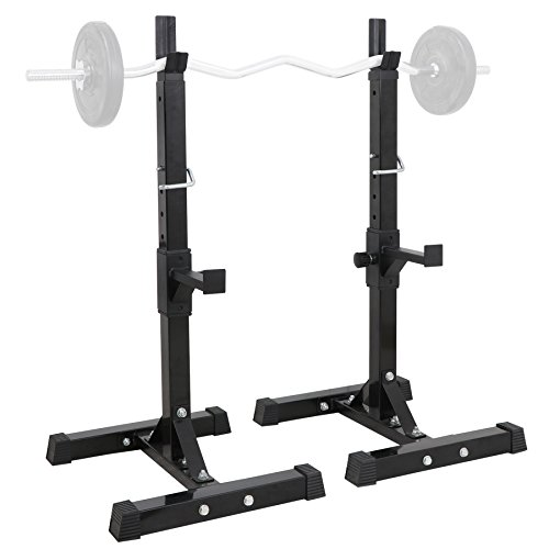 F2C Pair of Adjustable 41''-66'' Sturdy Steel Squat Rack Barbell Free Bench Press Stand GYM/Home Gym Portable Dumbbell Racks Stand Max 550lbs by F2C