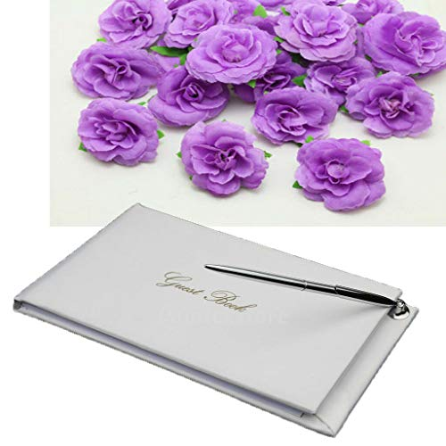 (BROSCO White Satin Wedding Guest Book with Pen Reception Signatures Party)