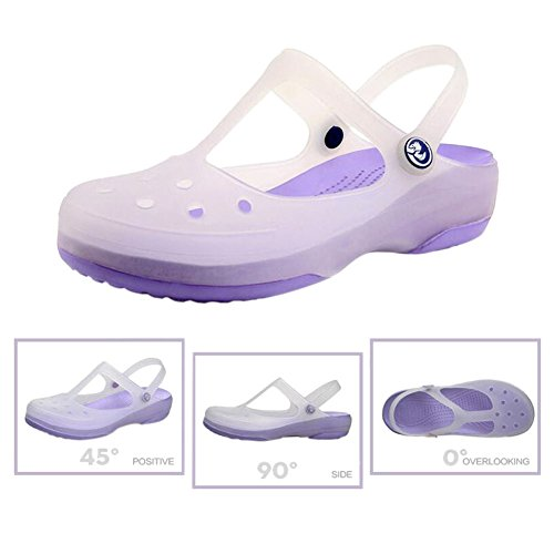 Summer Womens Breathable Hzjundasi Sandals Rainboots Non Color slip Shoes Shoes Flat Shoes Boots Rain Soft Purple Change Jelly Ladies Hole Beach zd4Wd