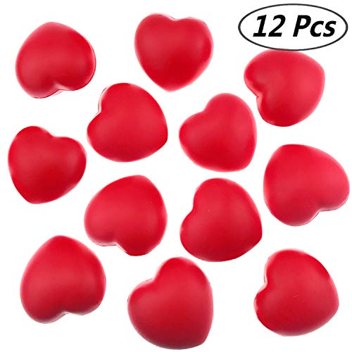 "Akusety 12 Bulk 2.875""x3"" Red Heart Stress Balls - Ideal for Valentine"