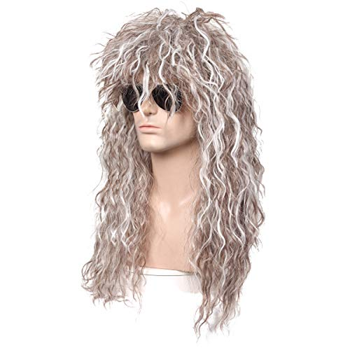 ColorGround Long Wavy Natural Mixed Color 80s 90's Rocker Style Wig for Men -