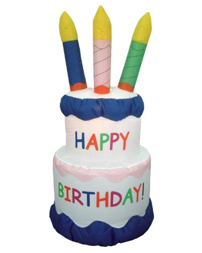 6 Foot Inflatable Happy Birthday Cake with Candles Yard Decoration]()