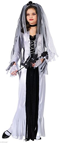 Skeleton Bride Girl Kids Halloween Costume Large]()
