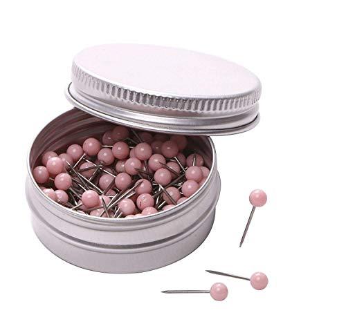 PTC Office 1/8 Inch Diameter Small Decorative Map Tacks Plastic Head Push Pins with Steel Point (Light Pink, 100PCS) ()