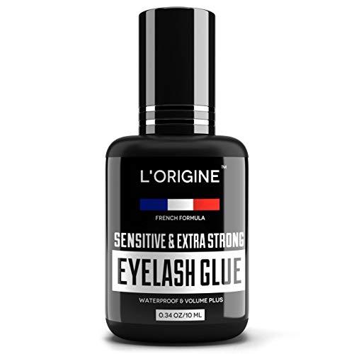 Eyelash Glue for Lash Extensions - 2X Size 10ML - Extremely Strong Lash Glue - Extra Black Lash Adhesive - 1-2 Sec Drying & Maximum Bonding - Eyelash Extension Glue for Professional Use - Latex-Free