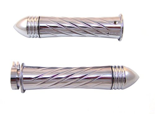 Yana Shiki CA3250PR Chrome Swirl Style Curved Design Grip with Pointed Ribbed End Caps