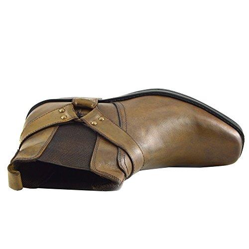 Leather Boots Ankle Tan Cowboy Biker Boots 3 Mens 5xwRgOqtn