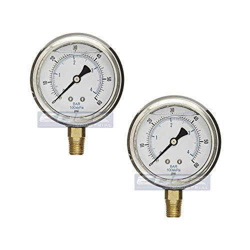 GAUGE Stainless Steel Lower Mount Liquid Filled Pressure, 2.5