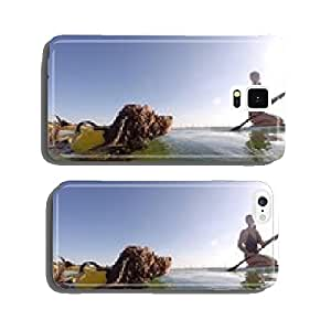 woman on stand up paddle board with her swimming dog cell phone cover case iPhone6 Plus