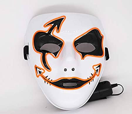 Upolymall LED Grimace Horror Glowing Mask Party Mask Blue Halloween Role Dress Up Cool Mask,Carnival Christmas Decoration,Ghost Dance Holiday Party