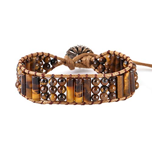 - IUNIQUEEN Unisex Hematite Healing Energy Balancing Natural Stone Wrap Bead Adjustable Bracelet ... (Tiger Eye Round and Tube Bead)
