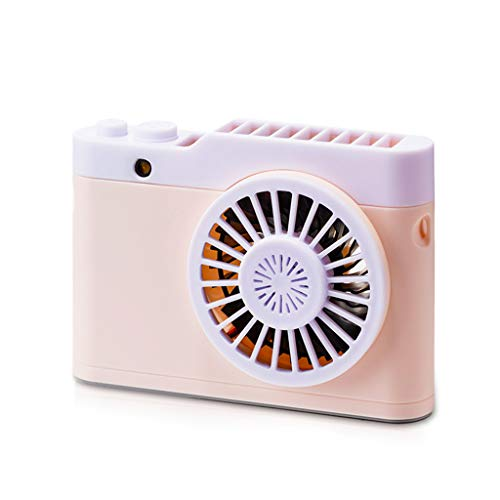 (Unionm USB Fan, Creative Camera Hanging Neck Mini Fan USB Charging Personal Desk Small Mobile Portable Fan for Computer Laptop Home Outdoor Indoor Travel (Pink))