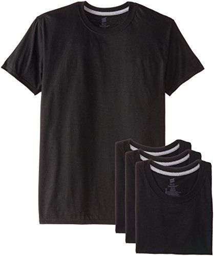Hanes Ultimate Men's 4-Pack FreshIQ Crew T-Shirt, Black, Medium ()