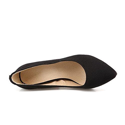 Tirare Donne Nera scarpe Talloni Punta Pompe A Delle Su Punta Chiusi Alti Solida Smerigliato Weenfashion xEq66PI