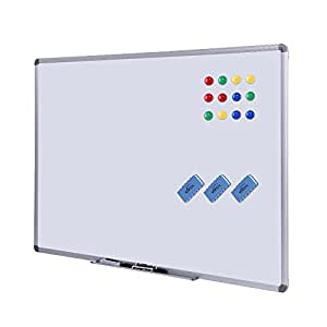 Dry Erase Board - 48 x 36 Dry Erase Board Magnetic Dry Erase Board with Aluminum Frame, Commercial Quality Wall Size White Board, Magnetic Board with 3 Erasers, 4 Markers and 12 Magnets, Erase Board