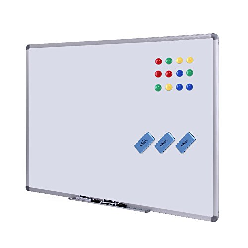 Dry Erase Board - White Board 48 x 36 Magnetic Dry Erase Board with Aluminum Frame, Large White Board Commercial Quality Wall Size White Board, Magnetic Board with 3 Erasers, 4 Markers and 12 Magnets by VIVREAL OFFICE
