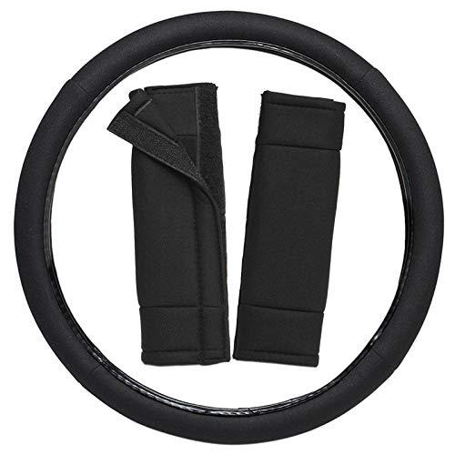 Motorup America Mesh Steering Wheel Cover w/Seat Belt Pads - Fits Select Vehicles Car Truck Van SUV - Solid - Beetle Seat Belt