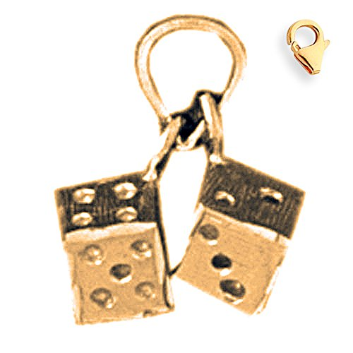Jewels Obsession Dice Charm | 14K Yellow Gold Dice Charm Pendant - 14mm