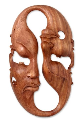 NOVICA Decorative Modern Large Suar Wood Mask, Brown, 'Emotional Duality' by NOVICA
