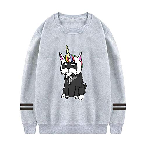 (AolaZW Men's Funny Unicorn Schnauzer Pullover Hoodies O-Neck Sweatshirt Athleisure Gray M)