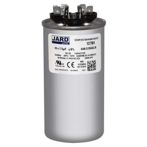 GE Industrial 3 uf MFD x 370 VAC # 97F9472 Genteq Dual Round Capacitor 35