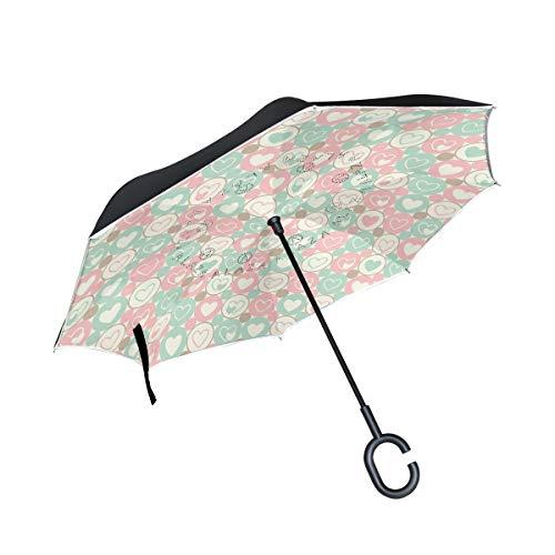 - senya Double Layer Inverted Umbrella Hearts and Circles Seamless Geometrical Pattern Reverse Folding Umbrella C Shape Handle Car Travel Golf Umbrella