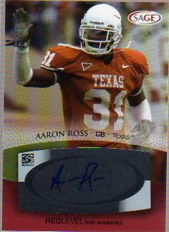 2007 SAGE Autographs Red #A45 Aaron Ross Autograph - 2007 Sage Autograph