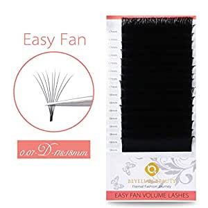 BEYELIAN Self Fanning Eyelash Extensions Easy Fan Lash Extensions Easier 3D 6D XD Volume Lashing Faux Mink Individual Eyelashes Dramatic Look D Curl Fluffy .07mm 17&18mm mix tray
